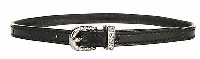 HKM Spur Straps, Patent Leather With Crystal Closure Buckle 1 Pair