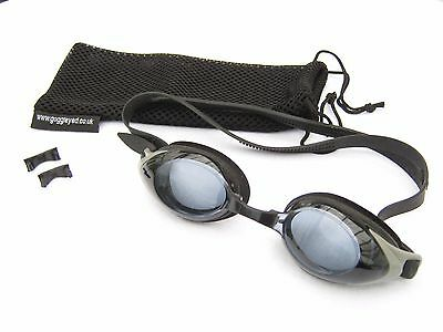 Prescription goggles for short sighted swimmers. Choose power for each eye