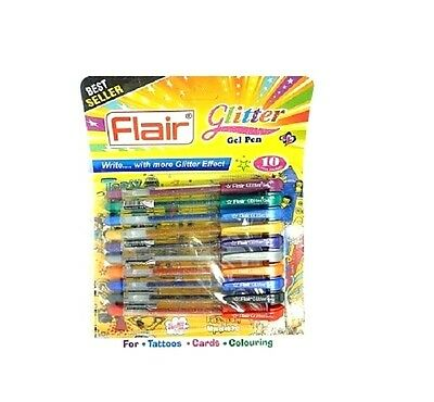 10X10 COLOR FLAIR XTRA SPARKLE GLITTER GEL PEN SET WITH FREE WORLDWIDE SHIPPING