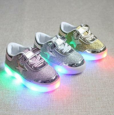 2017 LED Kids Shoes Light Up Luminous Children Trainers Sport Sneakers Gift