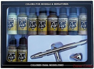 AV Vallejo Model Air Set 10 Camouflage Colours Harder & Steenbeck ultra airbrush