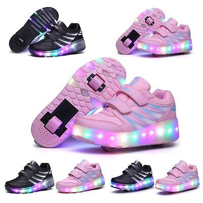 2017 LED Kids Wheel Fashional led Light up Roller Skate Sneakers Shoes Gift AAA