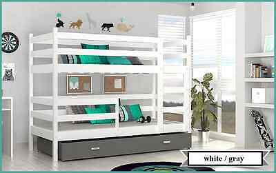 BUNK BED JACK CHILDRENS BUNK BED WITH 2 MATTRESSES AND STORAGE DRAWER white/gray