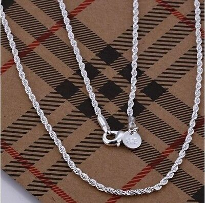 """925 Silver Sterling 3mm Top Quality Twisted Rope Necklace Chain 16""""- 24"""" Inch UK"""