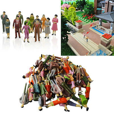 100Pcs Mini Painted Model Figures 1:150 Standing Sitting Model People Kids Toys
