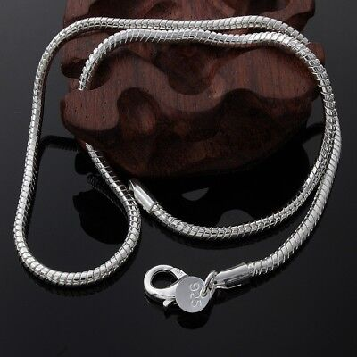 925 Silver Sterling 3mm Solid Snake Chain 16 18 20 22 24 Inch Necklace Pendant