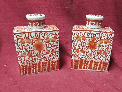 Pair Old or Antique Chinese Porcelain Tea Caddies