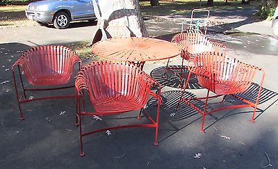 Russell Woodard attrib Vintage Mid Century Modern Patio Garden Set Table Chairs