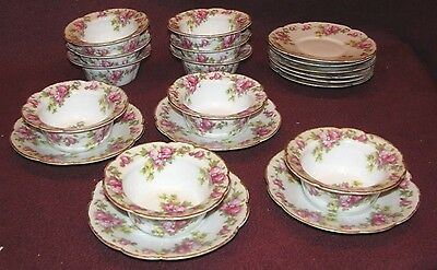 Set of 10 Antique Limoges French Porcelain Ramikin Cup and Saucer