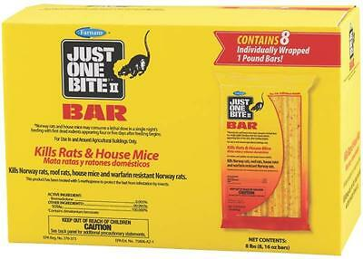 Just One Bite II - Rat  or Mice or Mouse bait Bromadiolene 8 -  1 lb (16oz) bars
