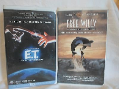 2 Children's VHS Tapes; E.T. The Extra-Terrestrial & Free Willy