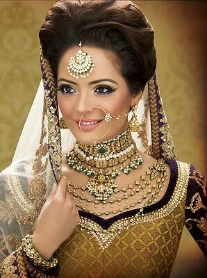 Indian Bollywood Pakistani Bridal Gold & Clear Stone Nose Ring, Nath, Nosepin