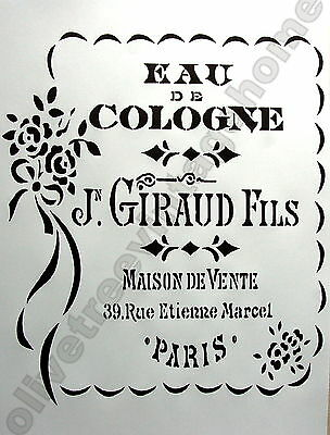 Eau de Cologne French Shabby Chic A4 reusable stencil furniture  drawer fabric