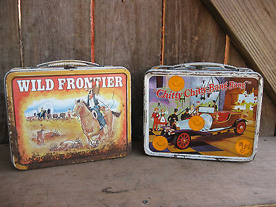 Vintage Pair of Metal Lunch Boxes from 60's and 70's