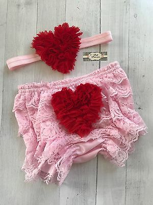 Valentines Day Baby Bloomer Set, Pink & Red Heart Bloomer & Headband