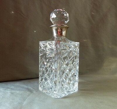 Crystal whisky decanter with silver collar, hallmarked