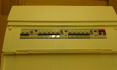 HAGER 12 WAY CONSUMER  UNIT 5+5+2 with RCDs and MCB's VC8552 bnib