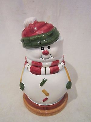 Hermitage Pottery Snowman Cookie Jar Christmas