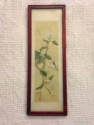 "Vintage Japanese Hand Colored Framed Painting on Cloth 5.5"" X 16"""