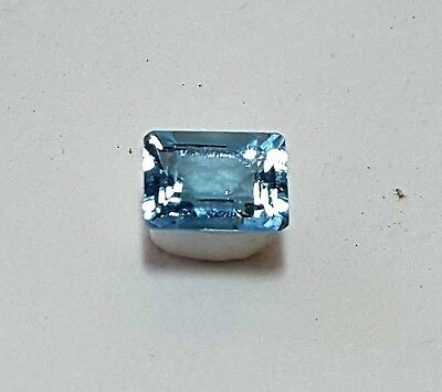 Aigue Marine pierre précieuse naturelle taille rectangle 0.92 ct