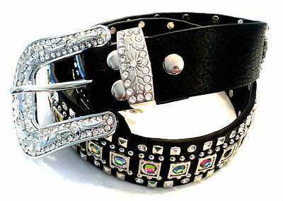 Cowgirl Bling Ranch Volcano Rhinestone Studded Belt Black