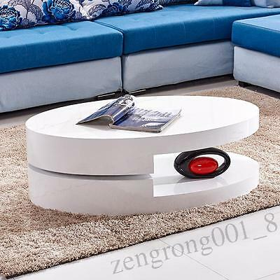White Oval 360° Rotatable High Gloss Coffee Table Storage Living Room Furniture