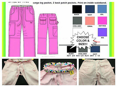 New Utility Styling Pants Uniform Women's Drawstring Scrub Pant 5 pocket 7 color