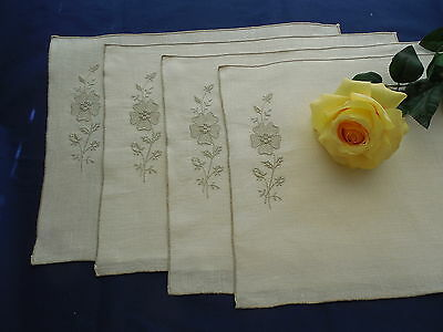 Vintage Linen Drawnwork Placemat Set Ecru with Taupe Embroidery