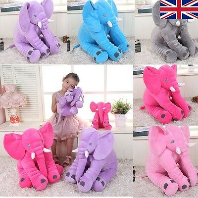 BABY CHILDREN ELEPHANT LUMBAR SOFT PLUSH LONG NOSE DOLL TOY PILLOW - 40cm