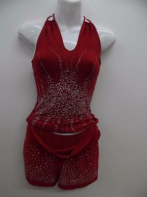 Dance Costume Large Child Red Rhinestone Shorts Hip Hop Jazz Solo Competition