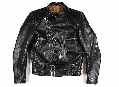HARRO VTG Leather Motorcycle Jacket Retro Lederjacke Teddyfell Gr. M 94 schwarz