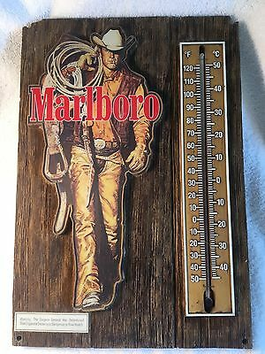 Vintage Rustic Marlboro Cowboy Man Cigarettes Thermometer Advertising Bar Sign