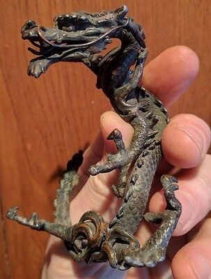 Dragon Japan figurine old carving fine bronze patina & detail