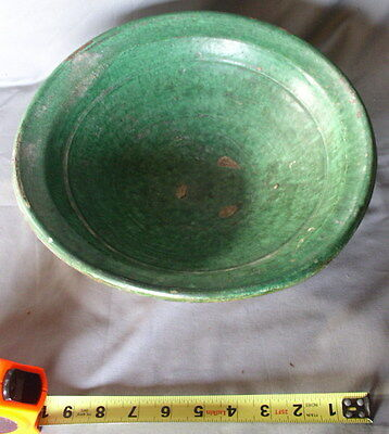 Early Redware Bowl Brilliant Green glaze Decorated 19th c. terracotta pottery