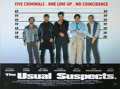 Original Vintage UK Mini Quad Poster The Usual Suspects Spacey Baldwin