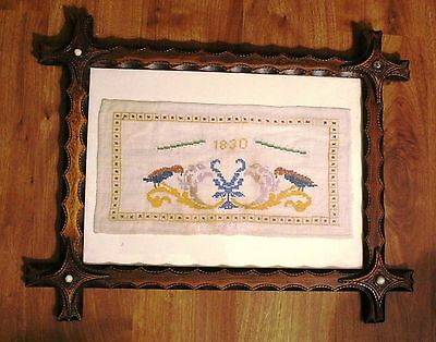 Small 1830 Sampler with Birds in Period Frame