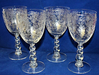 """4 Duncan & Miller Crystal """"First Love"""" Etched Water Goblets - Ball Stems Nice!"""