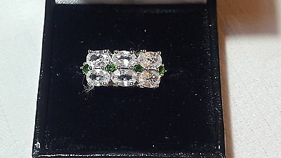 Sterling silver & emerald stone vintage Art Deco antique dress ring – size P