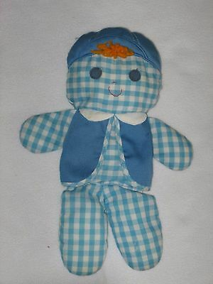 Fisher Price Cholly Rag Doll Rattle Blue Gingham Boy Vintage 1977