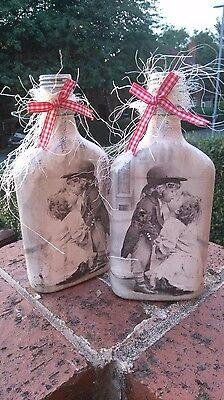 twin bottles decoupage love couple kiss kids