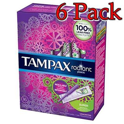 Tampax Radiant Plastic Tampons, Super, 16ct, 6 Pack 073010015357A384