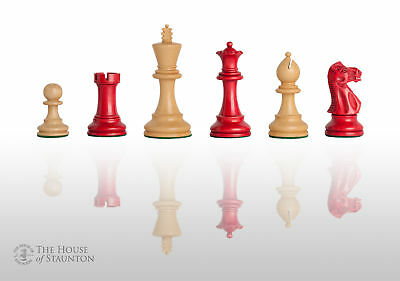 """The Grandmaster Chess Set - Pieces Only - 3.25"""" King - Red Gilded"""