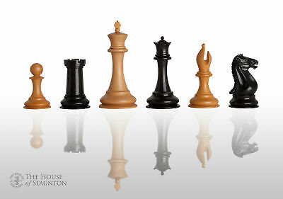 """The Leuchars Luxury Chess Set - Pieces Only - 3.5"""" King - Genuine Ebony and Anti"""