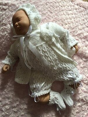 "New: Sweet 4 Piece Knitted Romper & Matinee Set For 20""- 22"" Reborn Baby Girl"