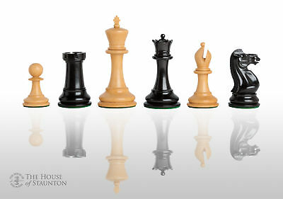 """The Anderssen Luxury Chess Set - Pieces Only - 4.4"""" King - Genuine Ebony"""