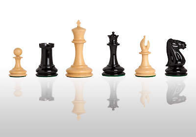"""The Cooke Luxury Chess Set - Pieces Only - 3.5"""" King - Black and Natural Lacquer"""
