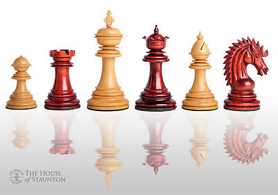 "The Modena Luxury Chess Set - Pieces Only - 4.4"" King - Blood Rosewood"