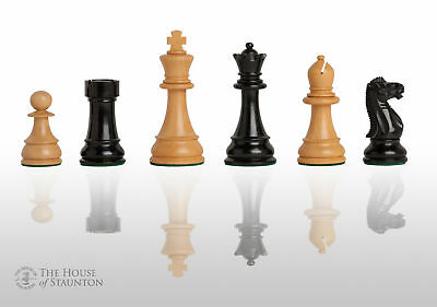"""The Windsor Chess Set - Pieces Only - 3.875"""" King - Black and Natural Lacquered"""