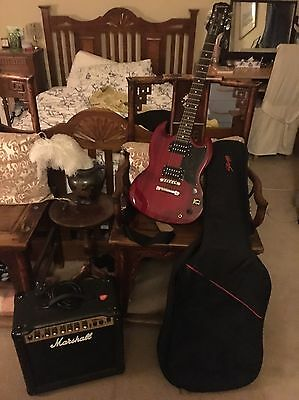 Epiphone SG Special Cherry; Marshall Amp, with Stagg Case + Strap!