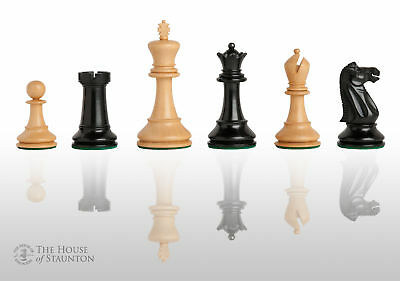 """Reproduction of The Circa 1940 Jaques Chess Set - Pieces Only - 4.0"""" King - Ebon"""